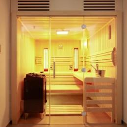 Opal Sauna-Set Glasfront.15mm Profilbretter in Espe BxTxH 200x185x200 Bi-O 7,5kW