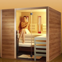 Linea Design Sauna-Linea Variante 1: BxTxH 210 x 180 x 200 cm finnische Sauna 7,5kW