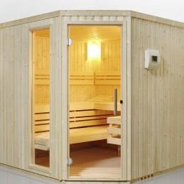 Safir Sauna-Set Eckeinstieg B x T x H 204x204x200 Bi-O Ofen 7,5kW