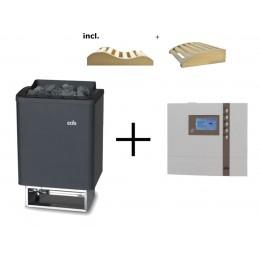 Saunaofen Thermo Tec 9kW + ECON D2 Saunasteuergerät incl. 2 Kopfkeile
