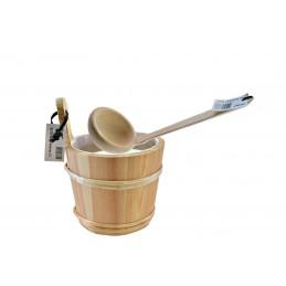 Aufgusseimer 2L inkl Schöpfkelle gewinkelt 30 cm Holz